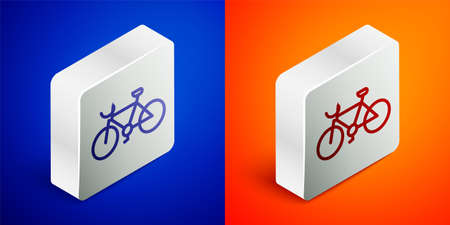 Isometric line Bicycle icon isolated on blue and orange background. Bike race. Extreme sport. Sport equipment. Silver square button. Vector
