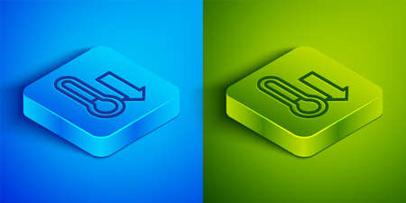 Isometric line Meteorology thermometer measuring icon isolated on blue and green background. Thermometer equipment showing hot or cold weather. Square button. Vector