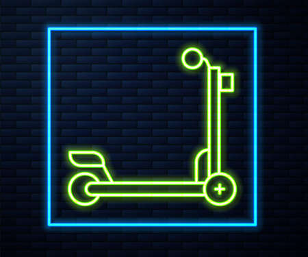 Glowing neon line Scooter icon isolated on brick wall background. Vector