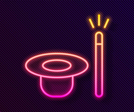 Glowing neon line Magic hat and wand icon isolated on black background. Magic trick. Mystery entertainment concept. Vector