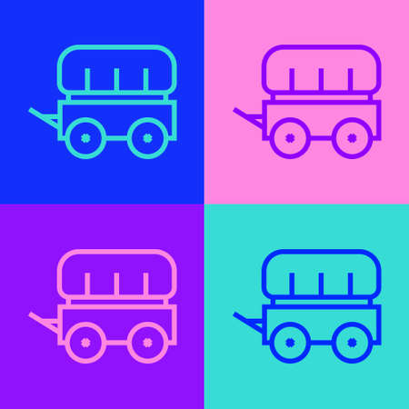 Pop art line Wild west covered wagon icon isolated on color background. Vector Stock Illustratie