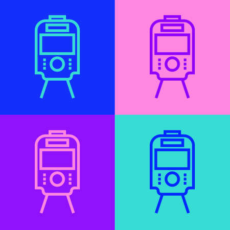 Pop art line Tram and railway icon isolated on color background. Public transportation symbol. Vector