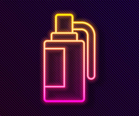 Glowing neon line Hand grenade icon isolated on black background. Bomb explosion. Vector 向量圖像