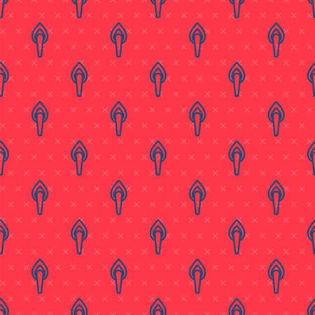 Blue line Torch flame icon isolated seamless pattern on red background. Symbol fire hot, flame power, flaming and heat. Vector