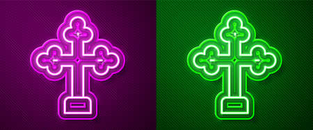 Glowing neon line Christian cross icon isolated on purple and green background. Church cross. Vector 向量圖像