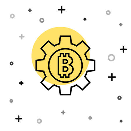 Black line Cryptocurrency coin Bitcoin icon isolated on white background. Gear and Bitcoin setting. Blockchain based secure crypto currency. Random dynamic shapes. Vector