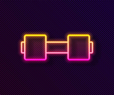 Glowing neon line Dumbbell icon isolated on black background. Muscle lifting icon, fitness barbell, gym, sports equipment, exercise bumbbell. Vector