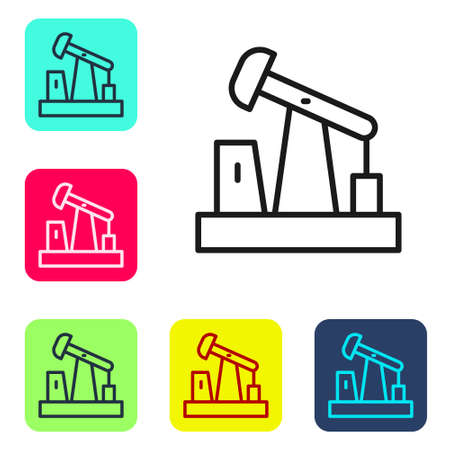 Black line Oil pump or pump jack icon isolated on white background. Oil rig. Set icons in color square buttons. Vector