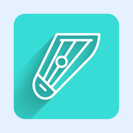 White line Musical instrument kankles icon isolated with long shadow. Green square button. Vector