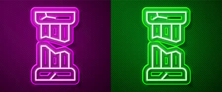 Glowing neon line Broken ancient column icon isolated on purple and green background. Vector