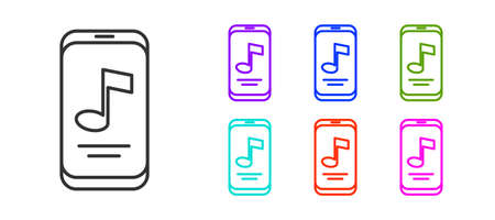 Black line Music player icon isolated on white background. Portable music device. Set icons colorful. Vector 矢量图像
