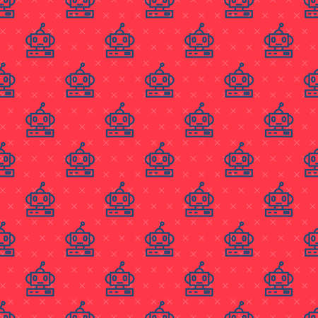 Blue line Robot toy icon isolated seamless pattern on red background. Vector