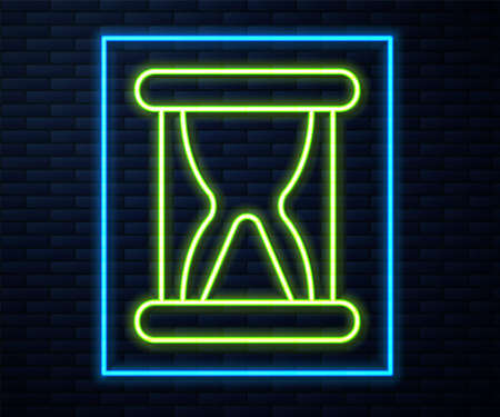 Glowing neon line Old hourglass with flowing sand icon isolated on brick wall background. Sand clock sign. Business and time management concept. Vector