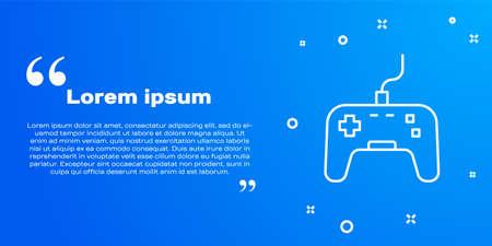 White line Gamepad icon isolated on blue background. Game controller. Vector 矢量图像