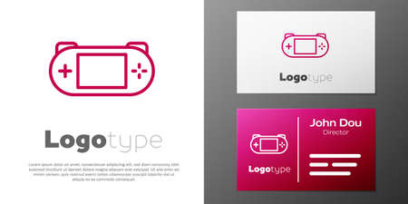 Logotype line Portable video game console icon isolated on white background. Gamepad sign. Gaming concept. Logo design template element. Vector
