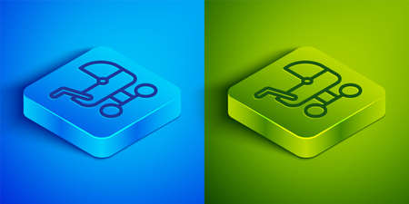 Isometric line Baby stroller icon isolated on blue and green background. Baby carriage, buggy, pram, stroller, wheel. Square button. Vector Vettoriali