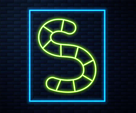 Glowing neon line Worm icon isolated on brick wall background. Fishing tackle. Vector