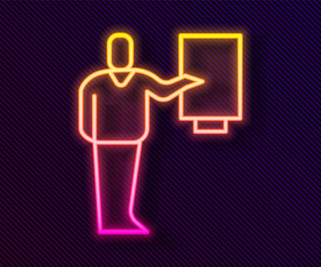 Glowing neon line Museum guide icon isolated on black background. Vector