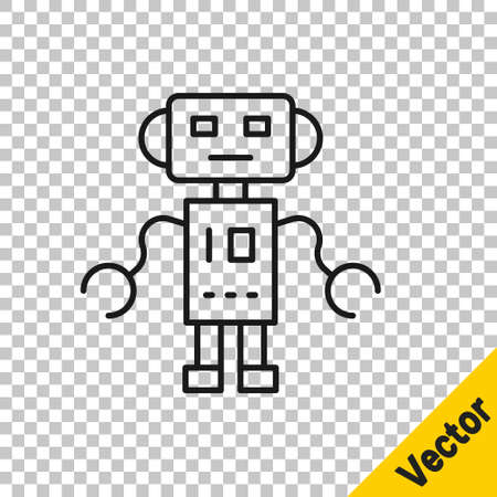 Black line Robot toy icon isolated on transparent background. Vector Vettoriali