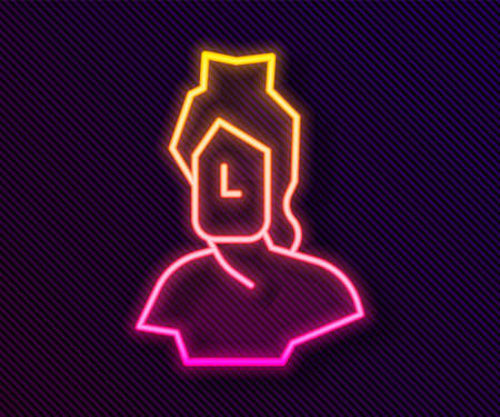 Glowing neon line Ancient bust sculpture icon isolated on black background. Vector Vectores