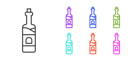 Black line Bottle of wine icon isolated on white background. Set icons colorful. Vector 矢量图像