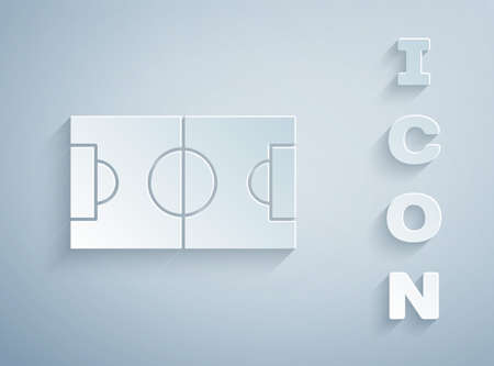 Paper cut Football or soccer field icon isolated on grey background. Paper art style. Vector Illustration Illustration