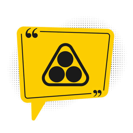 Black Billiard balls in a rack triangle icon isolated on white background. Yellow speech bubble symbol. Vector Illustration 向量圖像