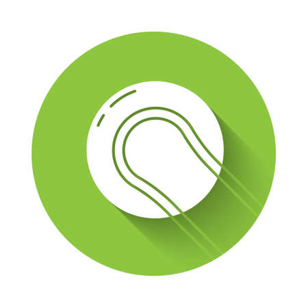 White Baseball ball icon isolated with long shadow. Green circle button. Vector Illustration