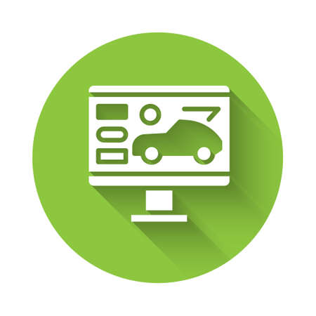 White Hardware diagnostics condition of car icon isolated with long shadow. Car service and repair parts. Green circle button. Vector Illustration Imagens - 155679443