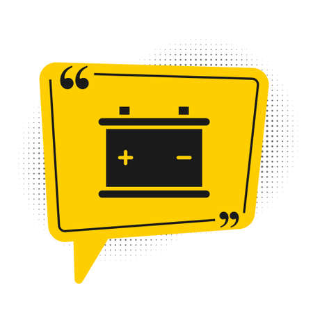 Black Car battery icon isolated on white background. Accumulator battery energy power and electricity accumulator battery. Yellow speech bubble symbol. Vector Illustration