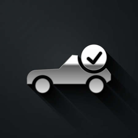 Silver Auto service check automotive icon isolated on black background. Car service. Long shadow style. Vector Illustration