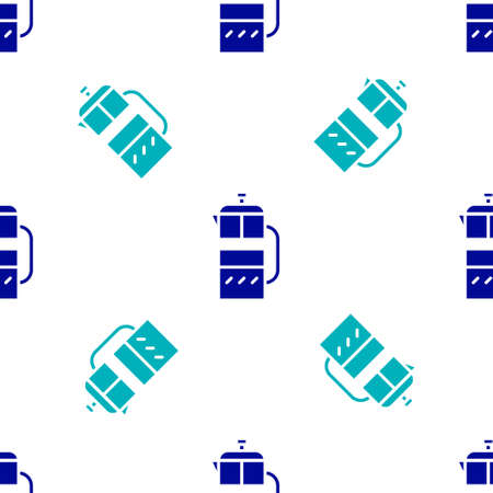 Blue French press icon isolated seamless pattern on white background. Vector Illustration
