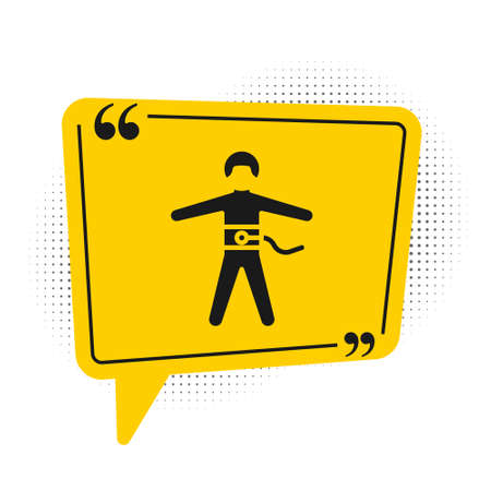 Black Bungee jumping icon isolated on white background. Yellow speech bubble symbol. Vector Illustration Illustration