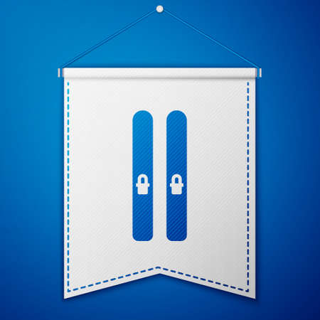 Blue Ski and sticks icon isolated on blue background. Extreme sport. Skiing equipment. Winter sports icon. White pennant template. Vector Illustration
