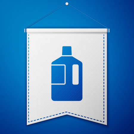 Blue Big bottle with clean water icon isolated on blue background. Plastic container for the cooler. White pennant template. Vector Illustration