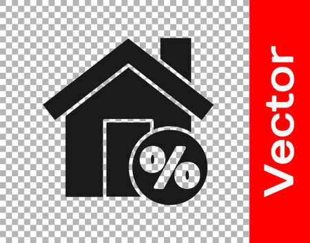 Black House with percant discount tag icon isolated on transparent background. House percentage sign price. Real estate home. Vector Illustration