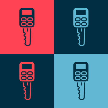 Pop art Car key with remote icon isolated on color background. Car key and alarm system. Vector Illustration