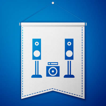 Blue Home stereo with two speaker s icon isolated on blue background. Music system. White pennant template. Vector Illustration