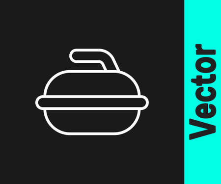 White line Stone for curling sport game icon isolated on black background. Sport equipment. Vector Illustration