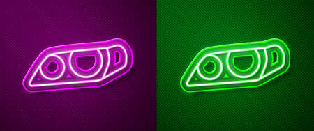 Glowing neon line Car headlight icon isolated on purple and green background. Vector Illustration