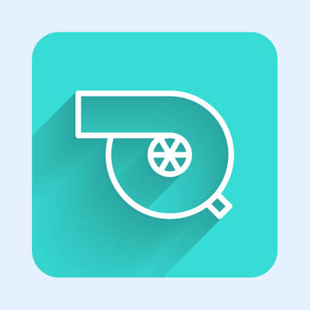White line Automotive turbocharger icon isolated with long shadow. Vehicle performance turbo. Turbo compressor induction. Green square button. Vector Illustration