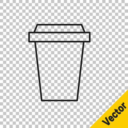 Black line Coffee cup to go icon isolated on transparent background. Vector Illustration