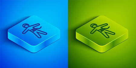 Isometric line Bungee jumping icon isolated on blue and green background. Square button. Vector Illustration
