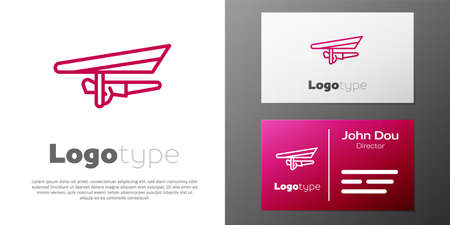 Logotype line Hang glider icon isolated on white background. Extreme sport. Logo design template element. Vector Illustration
