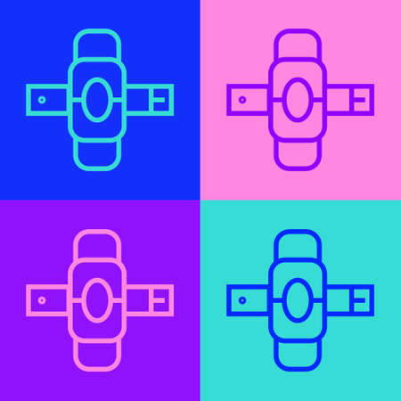Pop art line Knee pads icon isolated on color background. Extreme sport. Skateboarding, bicycle, roller skating protective gear. Vector Illustration