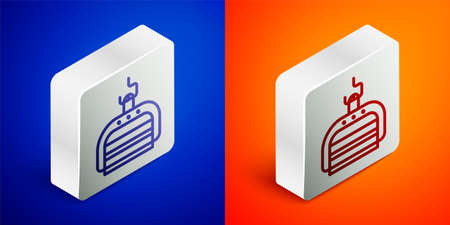 Isometric line Ski lift icon isolated on blue and orange background. Silver square button. Vector Illustration Stock Illustratie