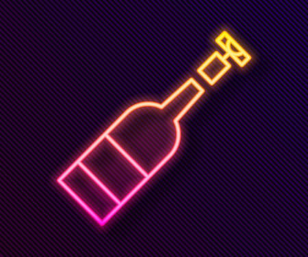 Glowing neon line Opened bottle of wine icon isolated on black background. Vector Illustration