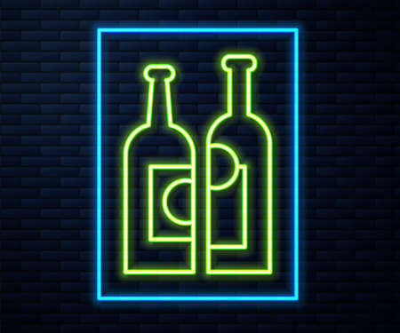 Glowing neon line Bottles of wine icon isolated on brick wall background. Vector Illustration