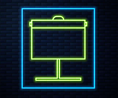 Glowing neon line Projection screen icon isolated on brick wall background. Business presentation visual content like slides, infographics and video. Vector Illustration  イラスト・ベクター素材