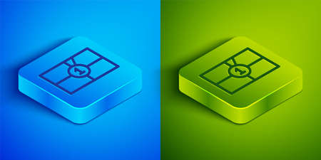Isometric line Old film movie countdown frame icon isolated on blue and green background. Vintage retro cinema timer count. Square button. Vector Illustration